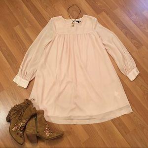 H&M long sleeve chiffon blush babydoll dress